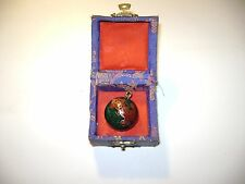 Chinese Chime Cloisonne Enamel Ball Pendant with Embroidery Box