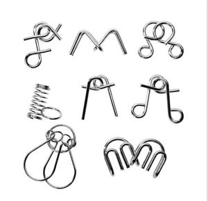 Details about 8pcs/lot Montessori Materials Metal Wire Puzzle IQ Mind Brain  Teaser Puzzles Kid