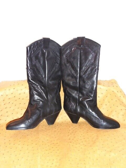SUPERB BOOTS BOOTS BOOTS WESTERN FRÉDÉRIC ALL LEATHER SUEDE NAVY blueE VINTAGE 80 T39 d49211