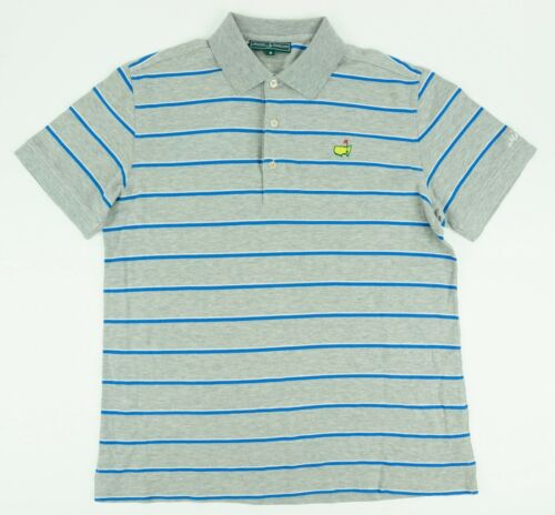 Masters Men's Medium Short Sleeve Gray Blue Stripe