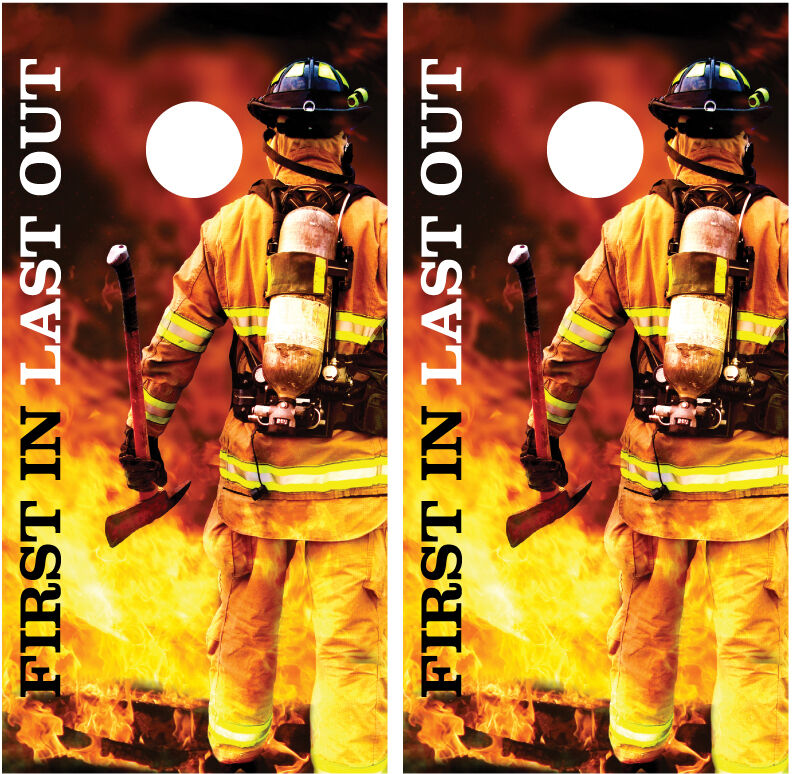 Firefighter Photo  First  In Last Out  Flames Cornhole Board Decal Wrap Wraps  high quality