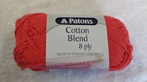 Patons-Cotton-Blend-8-Ply-26-Coral-Cotton-Acrylic-50g