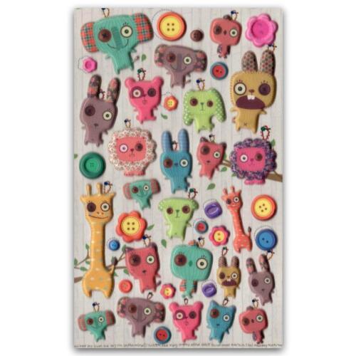 ✰ CUTE DANCHU DOLL STICKERS Button Eye Animal Craft Scrapbook Raised Sticker Set