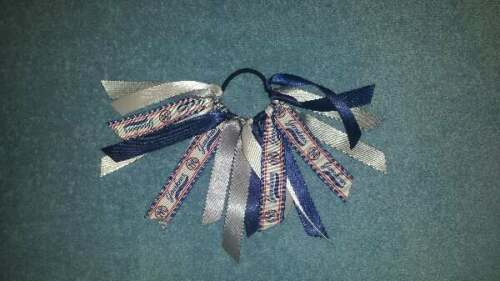 Team Colors Ribbon Ponytail Holder Made with New York Yankees Grosgrain Ribbon