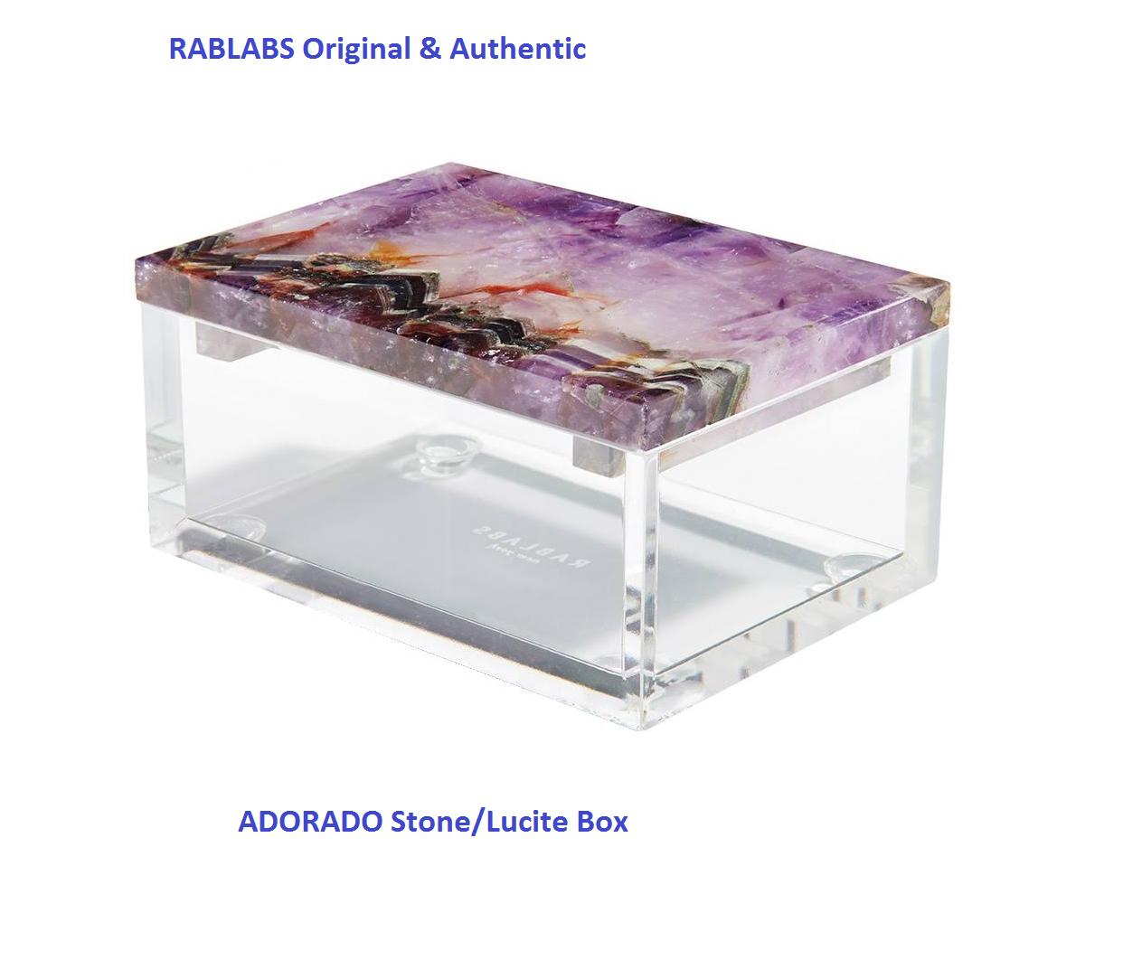 NEUF (Original) rablabs NewYork ADORADO Améthyste Lucite Box Small GENUINE