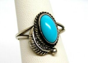 Sterling Silver and Turquoise Navajo Feather Ring