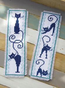 1x Counted Cross Stitch Kit Signet Joyeux Chats Lot De 2 Sewing Craft Outil-afficher Le Titre D'origine CoûT ModéRé