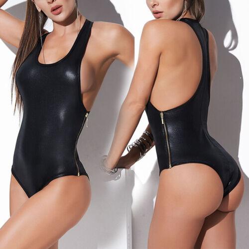 Strampler Overall Bodysuit Clubwear PU-Leder Schlank Reißverschluss Ärmellos