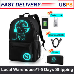 8a18943e68 Anime Backpack Luminous Laptop Shoulder Bag with USB Charging Port ...