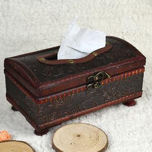 Holz-Gewebe-Kiste-rechteckig-Papier-Huelle-Uberzug-Serviette-Vintage-Halter