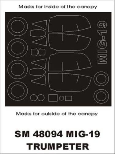 Montex Mini Mask 1:48 Mig-19 for Trumpeter Spraying Stencil #SM48094
