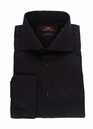 Steven Land Trim Fit Solid Black Spread Collar French Cuff Cotton Dress Shirt