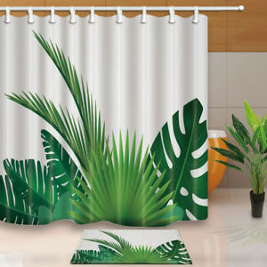 Tropical Plants Banana Leaves Palm Trees Fabric Shower