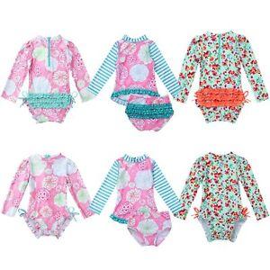 Rash Guard Bathing Swimming Beachwear Baby Girls Swimsuit Long Sleeve UPF 50
