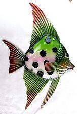 Angel Fish Tropical Wall Art Hand Painted Metal w/Glass Insert Sea Life Decor B