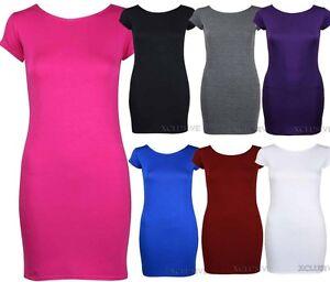 Neue Damen Ubergrosse Cap Sleeve Lange Plain Stretch Top Figurbetontes Kleid Midi Ebay