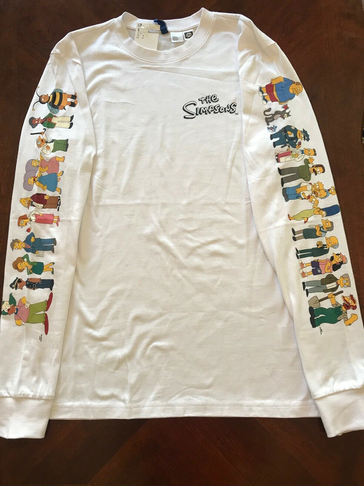 THE SIMPSONS Long Sleeve H&M T-Shirts NEW S,M,L,XL CHARACTERS ON BOTH SLEEVES