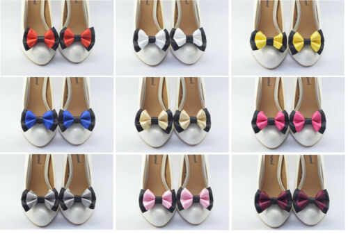 Pair of double bow satin shoe clips