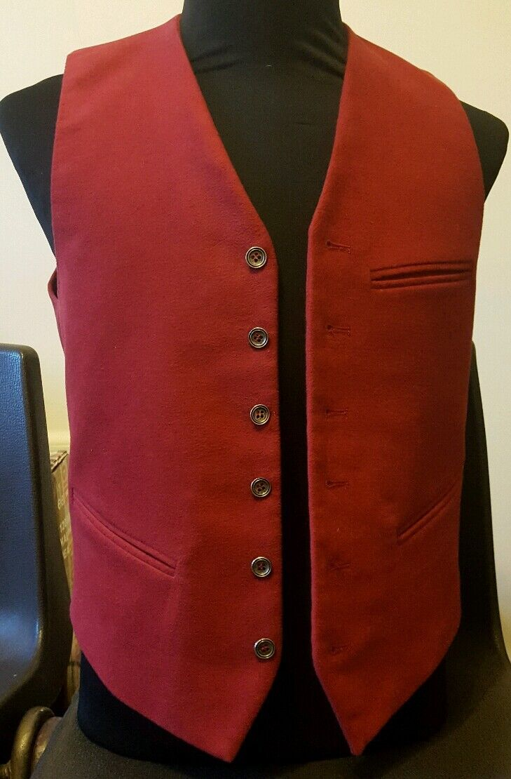 Mens Red Flat Corduroy Tailor Made Waistcoat 36  Chest