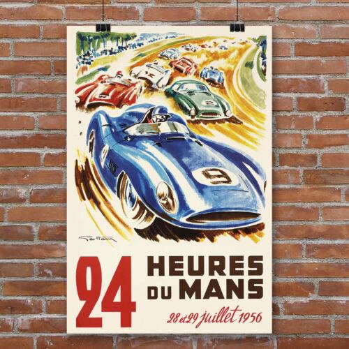 24 Hours of Le Mans Vintage Racing Poster Canvas Art Print Ferrari 1956