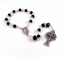 St Patrick St Brigid Rosary Chaplet In Black Onyx by Unbreakable Rosaries