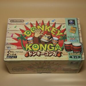 Gamecube-Console-BONGO-BUNDLE-Donkey-Kong-Konga-Boxed-with-game-Made-in-Japan