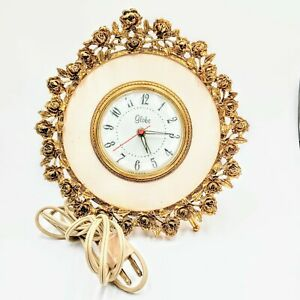 Antique-Vintage-Gold-Guild-Globe-Alarm-Clock-With-Rose-039-s-And-Legs-Made-In-USA