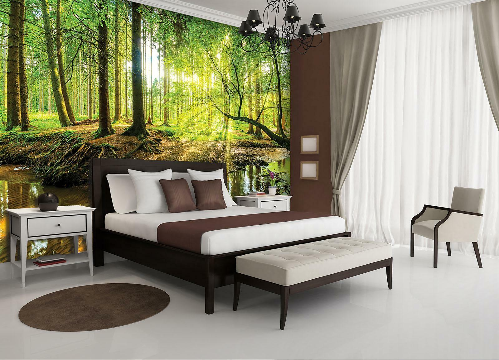 Photo Wallpaper Mural Non-woven 10513_VEN Sunny Forest nature landscape trees fo