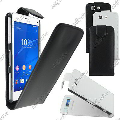Housse Etui Coque A Rabat Flip Simili Cuir Sony Xperia Z3 Compact +Film