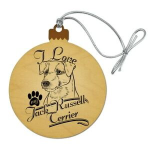 I Love My Jack Russell Terrier Wood Christmas Tree Holiday ...