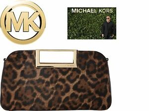 967e2925984eb3 Michael Kors Berkley Large Leopard print Clutch in leather+calf hair ...