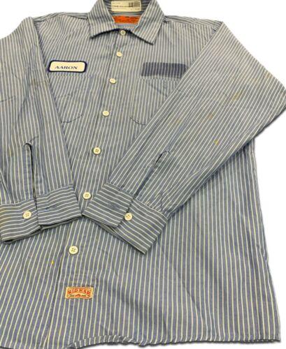 Red Kap Work Shirts 2 Pocket Blue White Stripes Poplin Uniform #CC