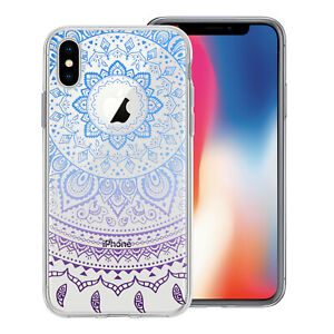 Bleu-Melange-Mandala-Dessin-Imprime-Transparent-Gel-Housse-Apple-IPHONE-Modeles