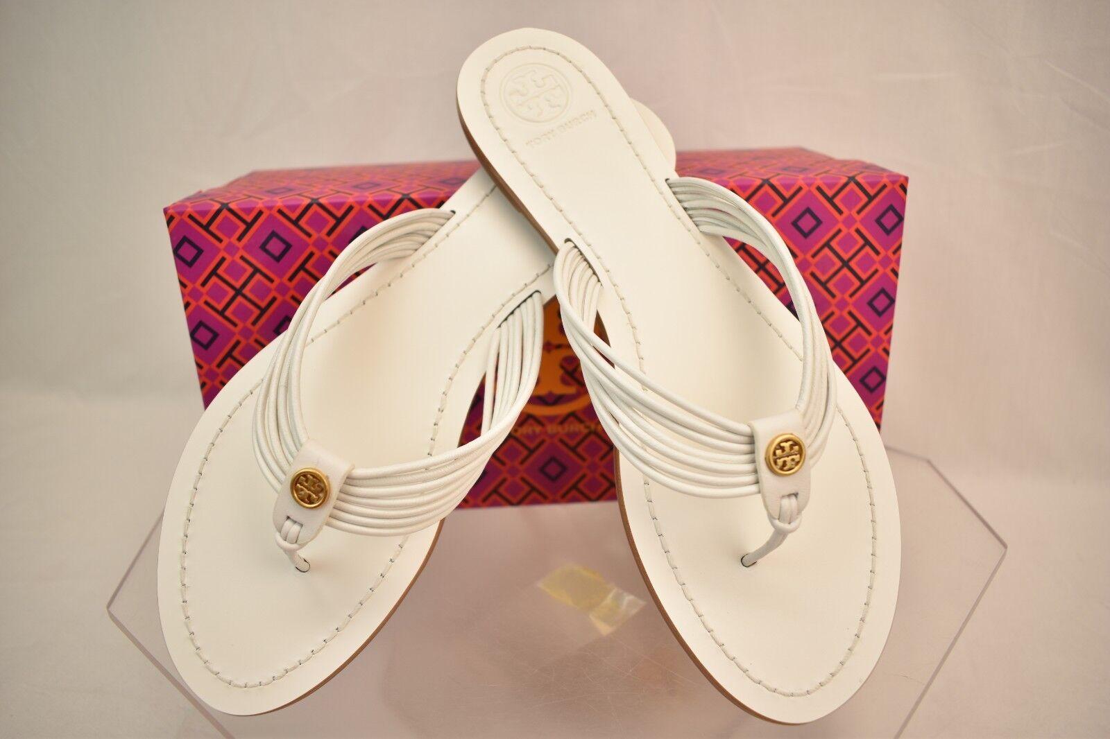 a608fc09e03f Tory Burch Sienna White Glove Nappa Leather Reva Thong Sandals 11 ...