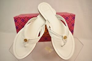 11216c2316b2 NIB TORY BURCH SIENNA WHITE GLOVE NAPPA LEATHER REVA THONG SANDALS 8 ...