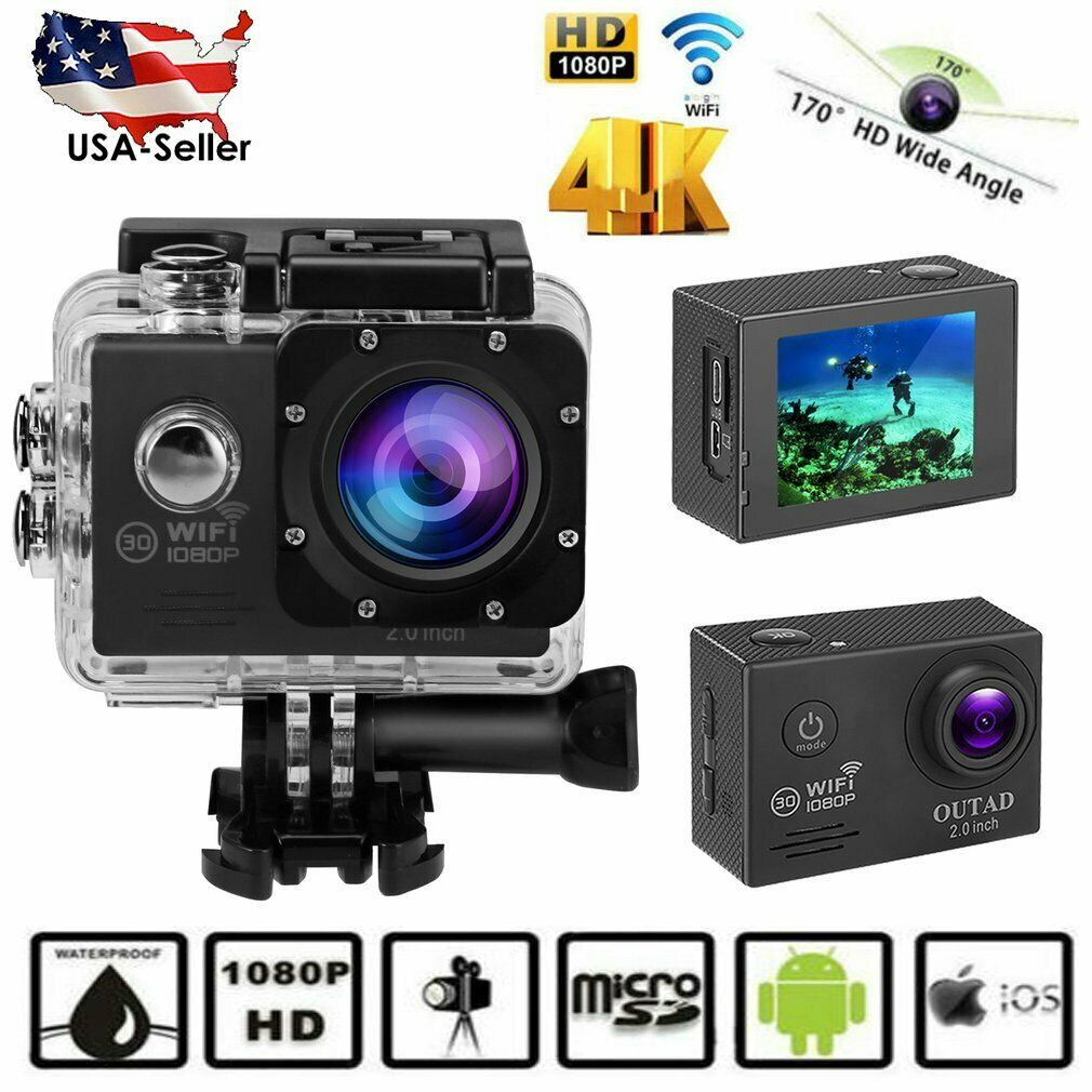4K 1080P WiFi Ultra HD Action Sports Camera Waterproof DV DVR Camcorder Cam C0N3 1080p action cam camcorder camera dvr sports ultra waterproof wifi