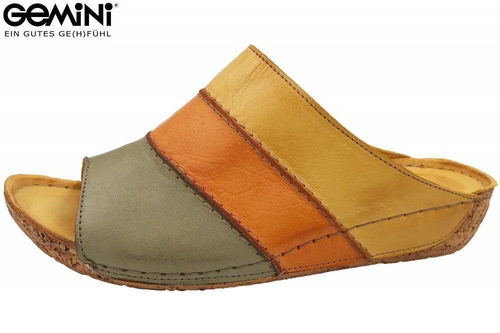 Gemini Damen Pantolette Gelb Orange Schuhe Leder 32004-02-776