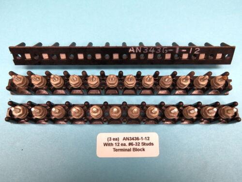 """7-1//2"""" Buss Bar Warbird Boat 3 each Aircraft Terminal Strip Block AN3436-1-12"""