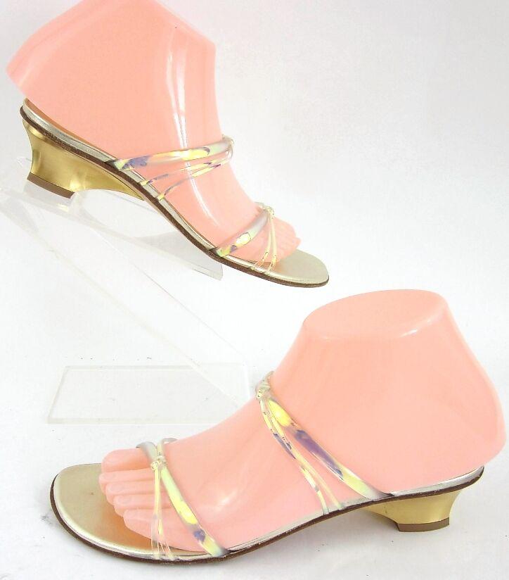 Stuart Weitzman Iridescent Crisscross Sandals gold Heels Sz 6.5M