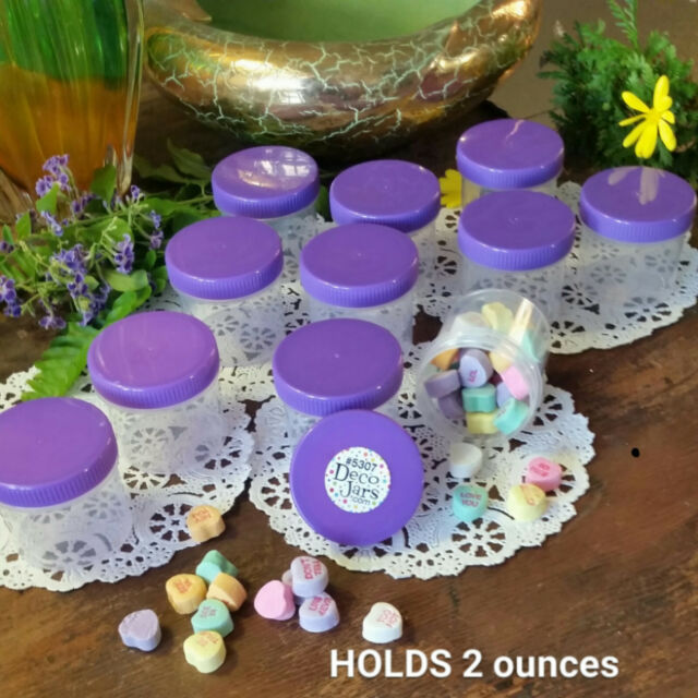 12 New Screw Top Plastic JARS 2 ounce Container Reusable PURPLE Snack Jars 5303