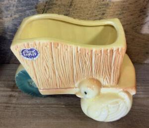 Royal Copley Wheelbarrow Planter With Baby Duck Duckling Vintage