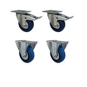 Set 125 mm Blue Wheels Elastik Rollen als Lenkrolle 2B+2LDS Transportrollen
