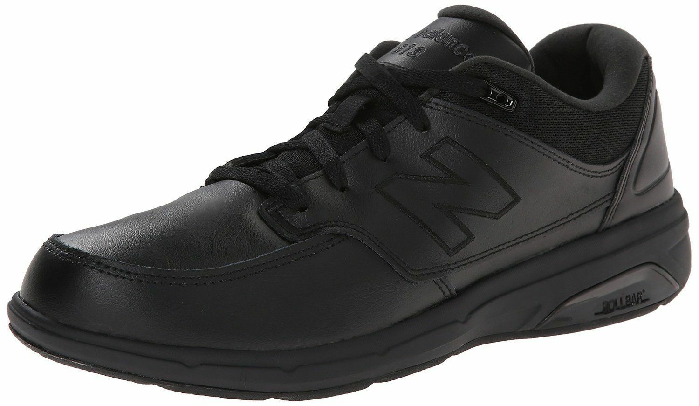 New Balance Men's MW813BK Black Leather Comfort Walking shoes