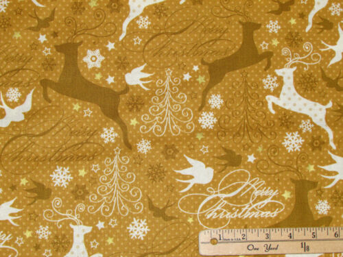 Sparkle Gold Reindeer w// Metallic Christmas Fabric by the 1//2 Yard  #42377M-2