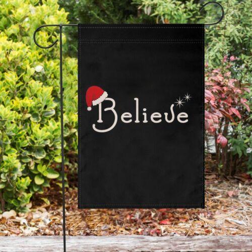 Winter Merry Christmas Garden Flag Black Believe Outdoor Lawn Yard Decor