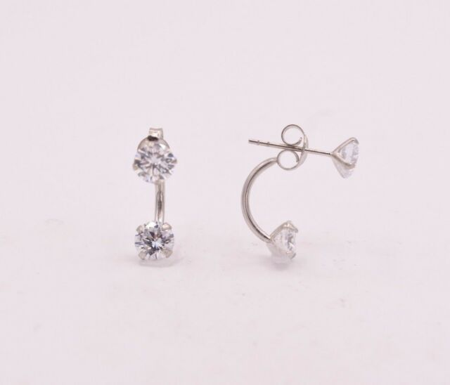 Platinum Plated Front Back 2 In 1 Cubic Zirconia Stud And Ear Jacket Earrings