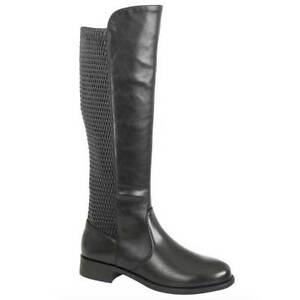High Up Boots Zip Back Black Ladies Knee Elasticated Cipriata Riding And Mia UF6qWf