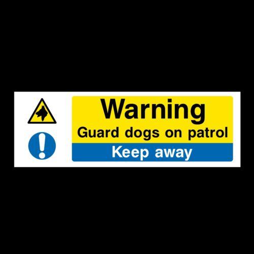MP5 Warning Guard Dogs 300x100mm Rigid Plastic Sign OR Sticker