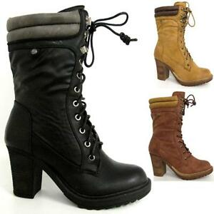 LADIES-HIGH-HEELS-BOOTS-WOMENS-MID-CALF-BIKER-COMBAT-MILITARY-ARMY-BOOTS-SIZE