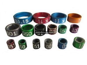 Bird Leg Rings 10pc Aluminium Split numbered or plain small